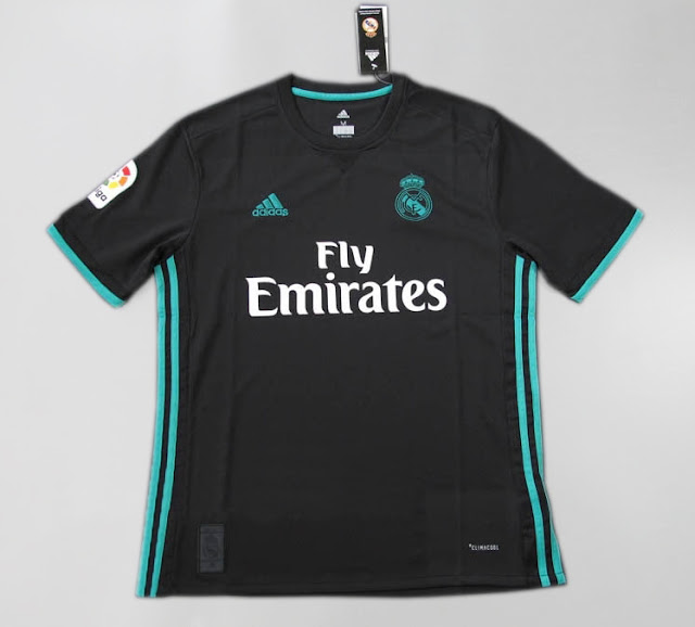 Real Madrid 17-18 Away Black Soccer Jersey Climacool