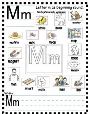 have fun learning english the letter m. Black Bedroom Furniture Sets. Home Design Ideas