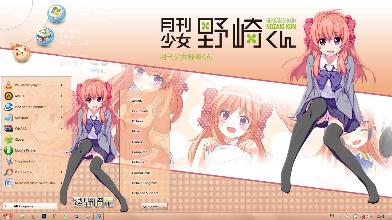 Windows 7 Theme Gekkan Shoujo Nozaki-kun by Bashkara