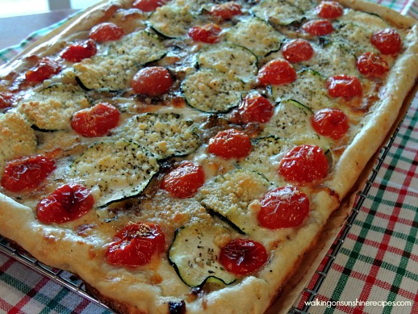 Garden Fresh Zucchini Tomato Tart from Walking on Sunshine.
