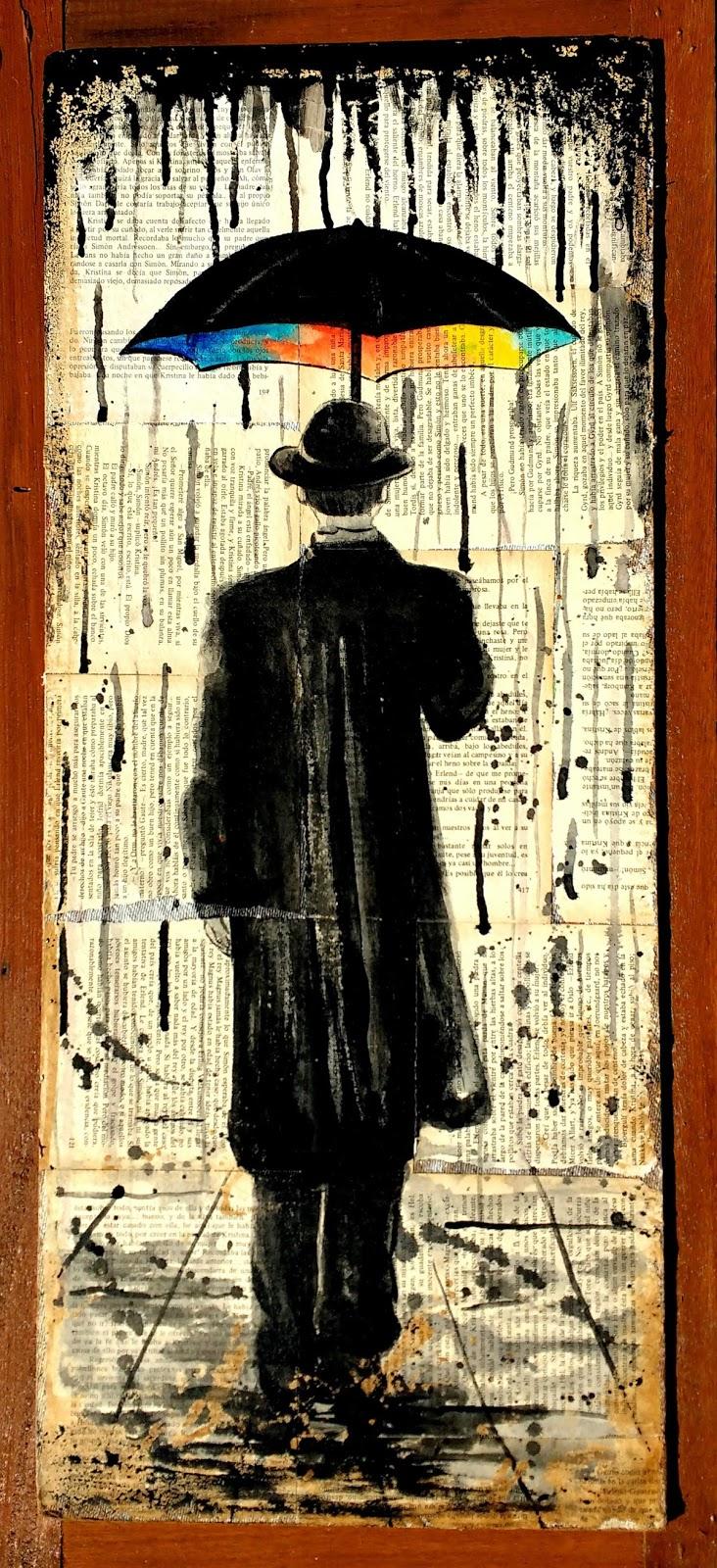 quadro retratando homem andando na  chuva com guarda chuva