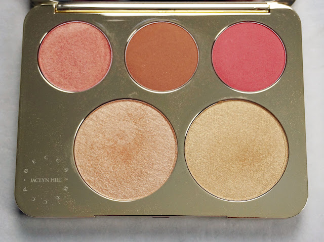 Up close shot of the blushes and highlighters in the Becca Cosmetics x Jaclyn Hill champagne glow face palette