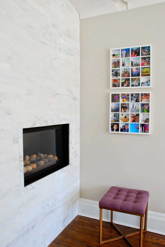 Rambling Renovators | living room marble fireplace