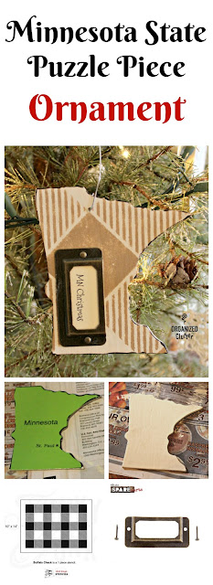 Minnesota Puzzle Piece Repurposed as a Christmas Tree Ornament www.organizedclutter.net