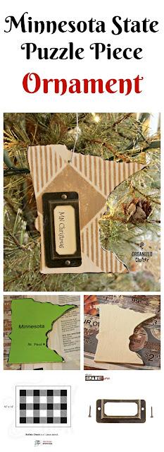 Minnesota Puzzle Piece Repurposed as a Christmas Tree Ornament www.organizedclutter.net