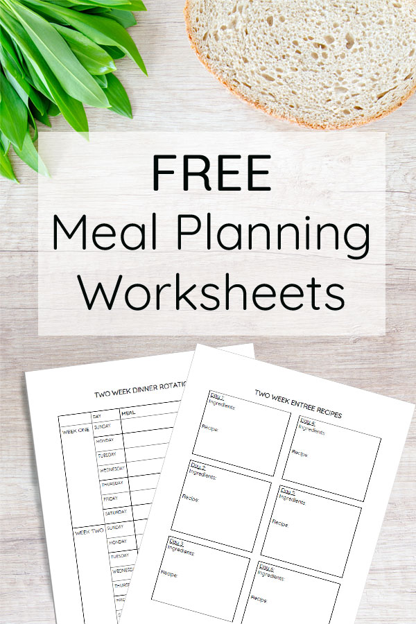 Free printable meal planning worksheets. The simple way to plan your menu with an easy two week meal rotation! Perfect for busy moms.