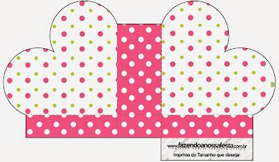 Pink, Green and White Polka Dots Heart Shaped Open Box.