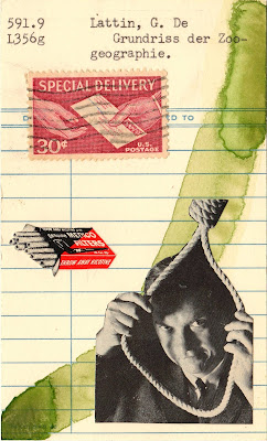 nietzsche noose cigarette filter package special delivery postage stamp library due date card Dada Fluxus mail art collage
