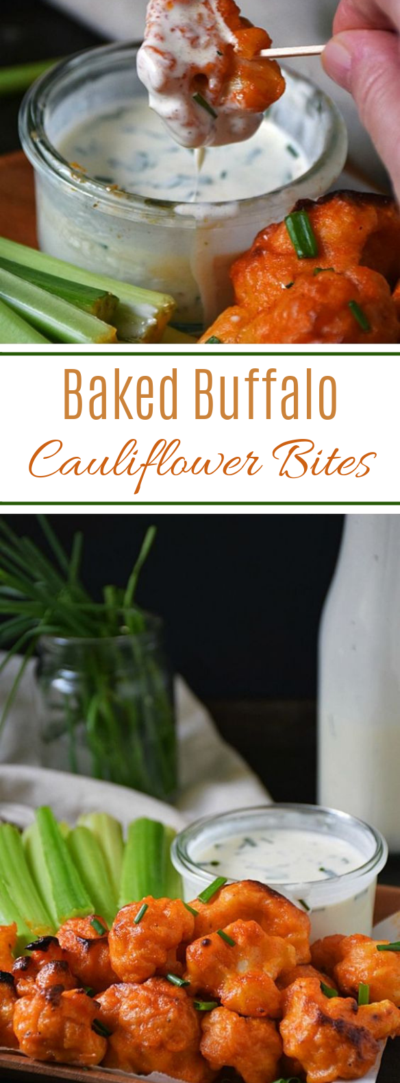 Baked Buffalo Cauliflower Bites #appetizer #vegetarian