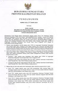Pengumuman Peserta Lulus CPNS Pemerintah Kabupaten Hulu Sungai Utara (HSU)