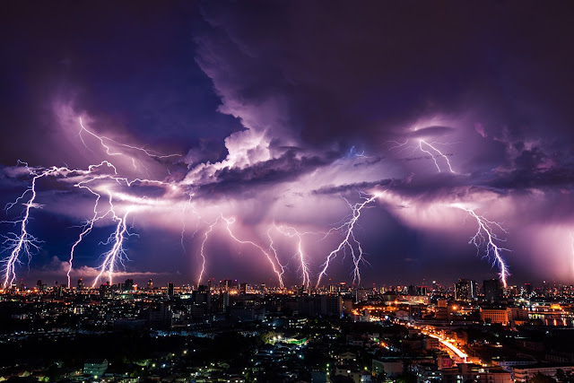 Lightning Strikes over a city