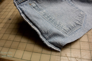 hip seam of jeans