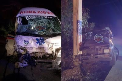 Chofer ambulancia hospital Cabral y enfermera sufren lesiones en accidente