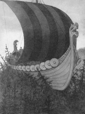 Theodor Kittelsen, peintre dessinateur norvégien : drakkar