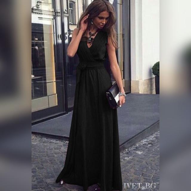 Αμάνικο μάξι μαύρο φόρεμα JUDITH BLACK