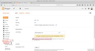Kemudian buka blogger, dan pilih setelan > dasar > pilih siapkan URL pihak ke-3 untuk blog anda