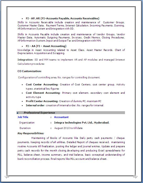 sap fico resume with 2 years experience - Sap Resume Sample