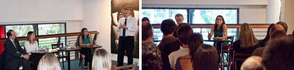 Daniel Mordecki y los miembros de la mesa redonda en la presentación del libro