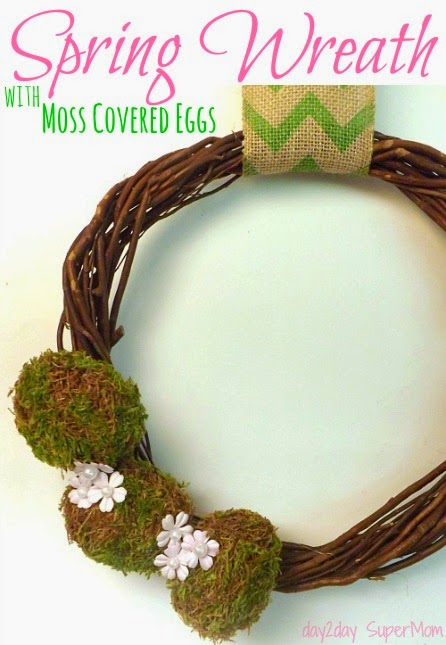 Spring Wreath with Moss covered eggs