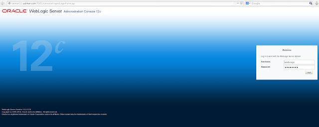 Weblogic Admin Server login page