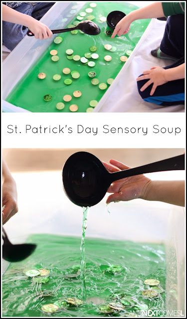 St. Patrick's Day themed sensory bin idea for kids - a great way for toddlers and preschoolers to work on fine motor skills from And Next Comes L