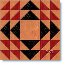 Homespun quilt block © W. Russell, patchworksquare.com
