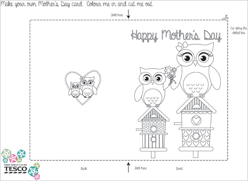My Owl Barn Printable Mother\u0027s Day Coloring Card Templates