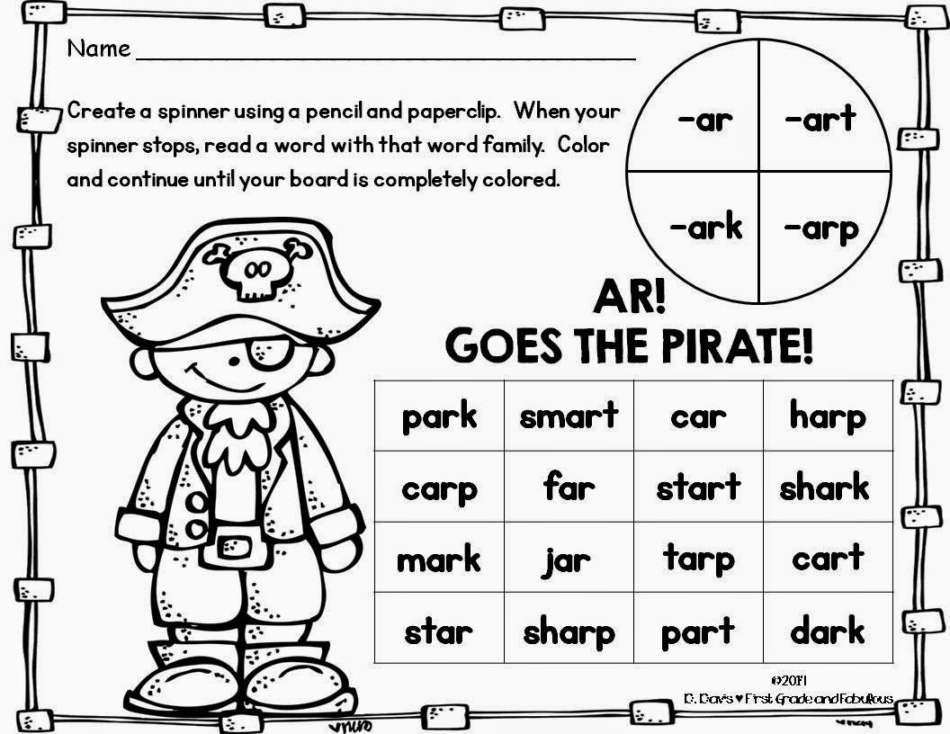 First Grade And Fabulous Ar Goes The Pirate A Freebie