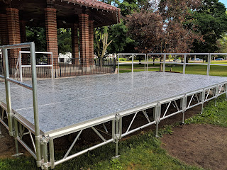 The new portable stage authorized for purchase last year has arrived and is set up for the 4th of July Celebration on the Town Common