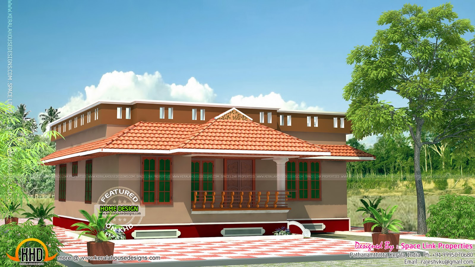 Small beautiful home in low budget kerala home design for House designs kerala style low cost