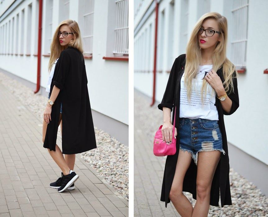 LONG BLACK COAT, ADIDAS ZX & PINK MINI BAG