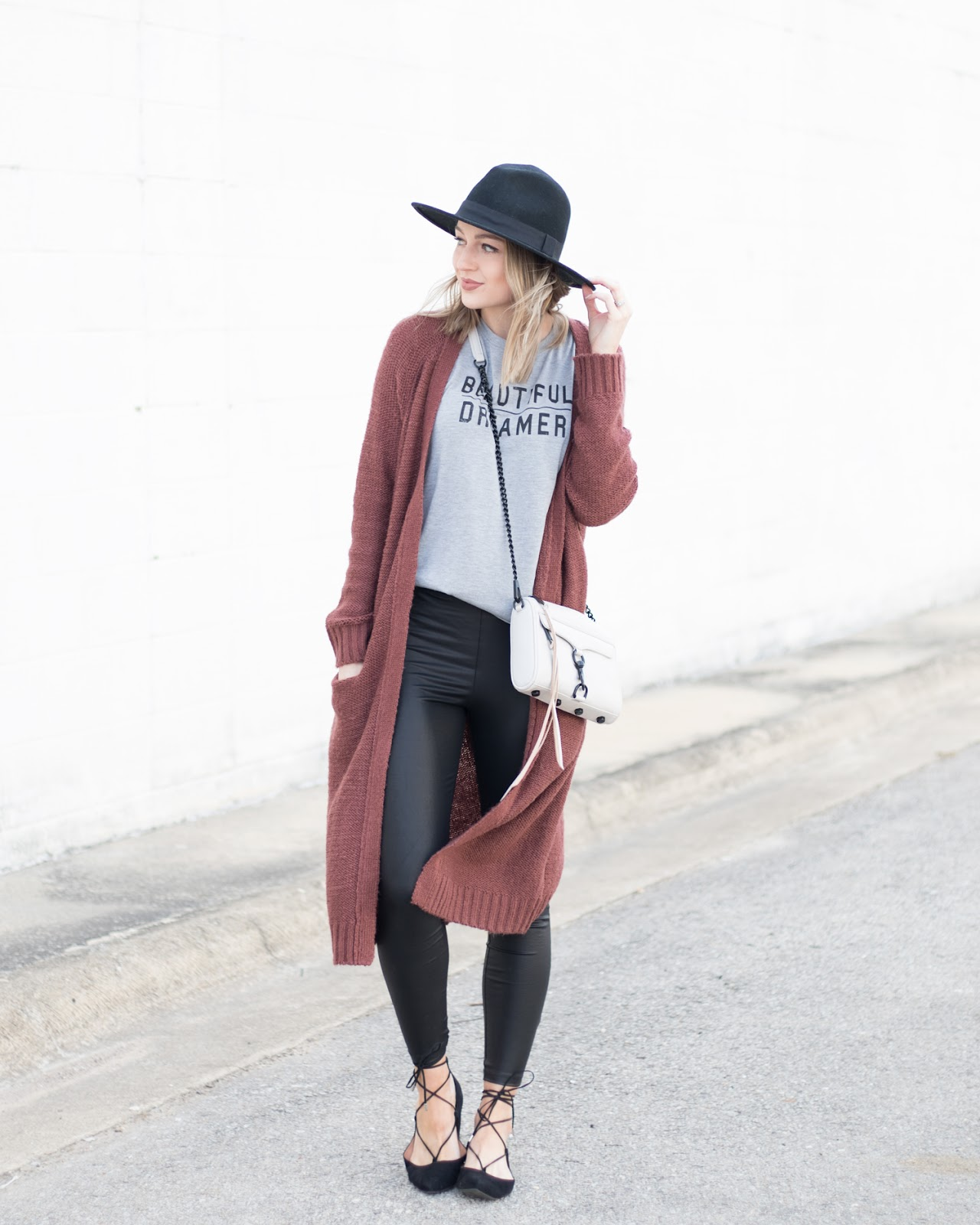 Duster cardigan + leather leggings