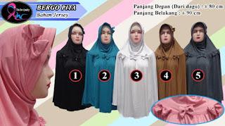 Jilbab bergo terbaru aksesoris pita dari jersey polos