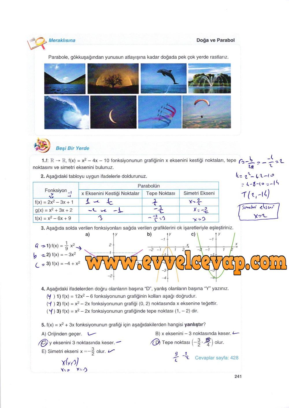 10. Sınıf Matematik Tuna Yayınları Ders Kitabı 241. Sayfa Çözümleri