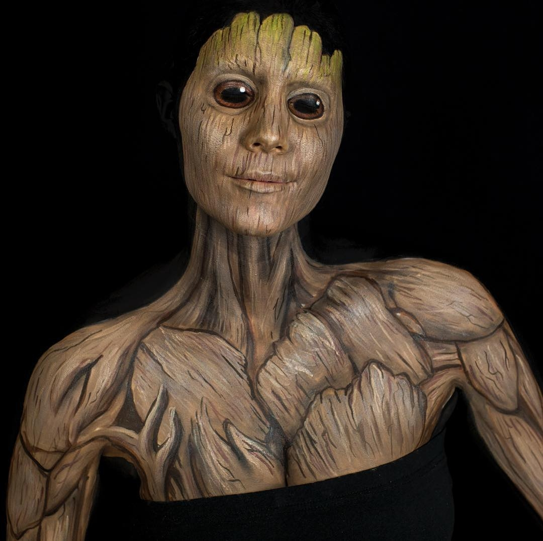 03-Groot-Guardians-of-the-Galaxy-Marvel-Comics-Kim-Witte-Face-and-Body-Painting-Makeup-Transformations-www-designstack-co