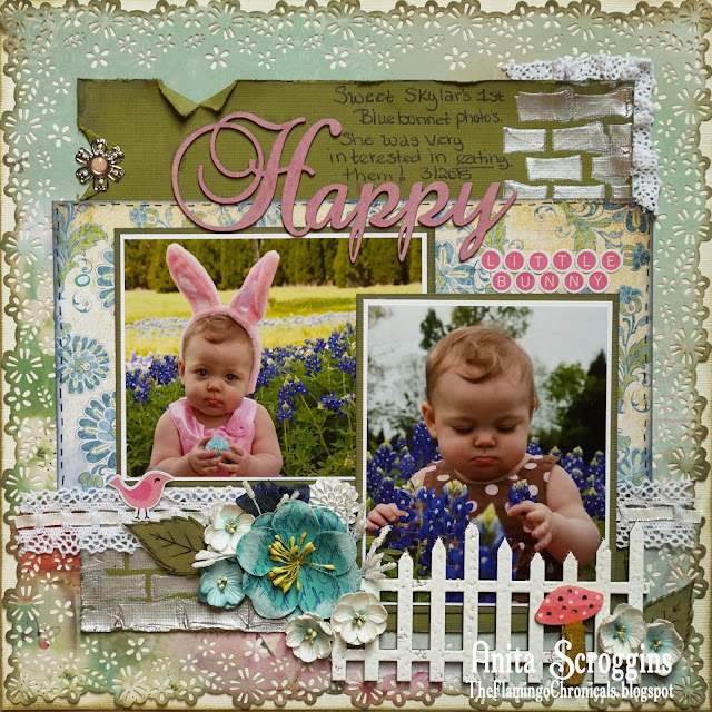 Texas Bluebonnets Scrapbook Layout using Mixed Media techniques