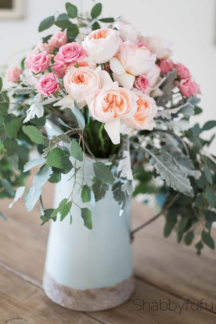 david austin juliet peach roses centerpiece