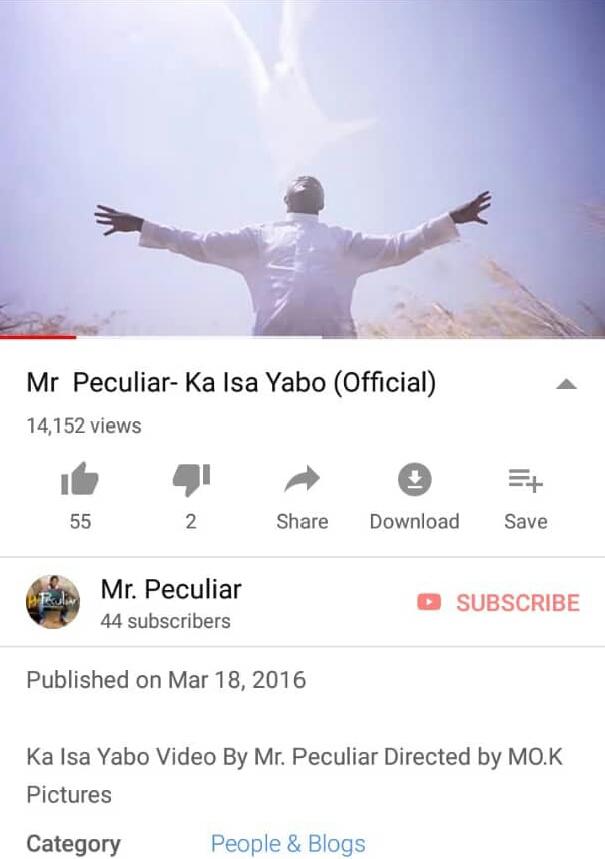 KD Based Gospel Music Minister, Mr Peculiar