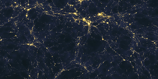 A computer-simulated image depicting one possible scenario of how light sources are distributed in the cosmic web. Credit: Andrew Pontzen and Fabio Governato / Wikimedia Commons (CC BY 2.0).