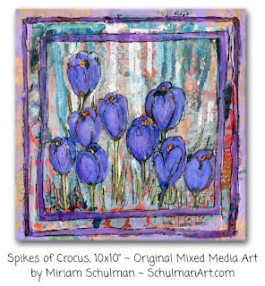 crocus painting | floral art | flower painting | purple flowers | https://www.schulmanart.com/collections/spring-collection/products/crocus-original-mixed-media-art