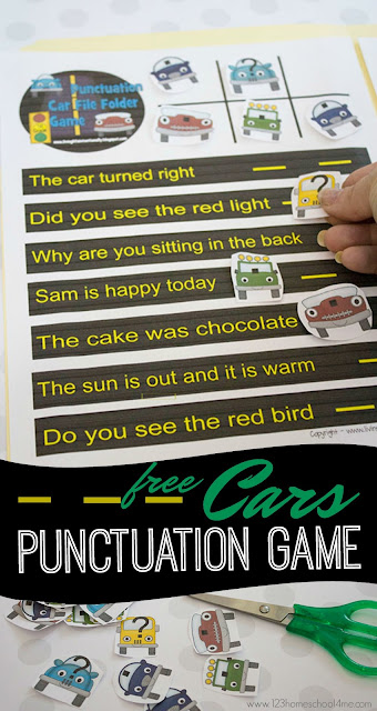 FREE Cars Punctuation Game - this printable is such a fun punctuation activities for kindergarten and first grade to practice. It is a fun way to make teaching stick!