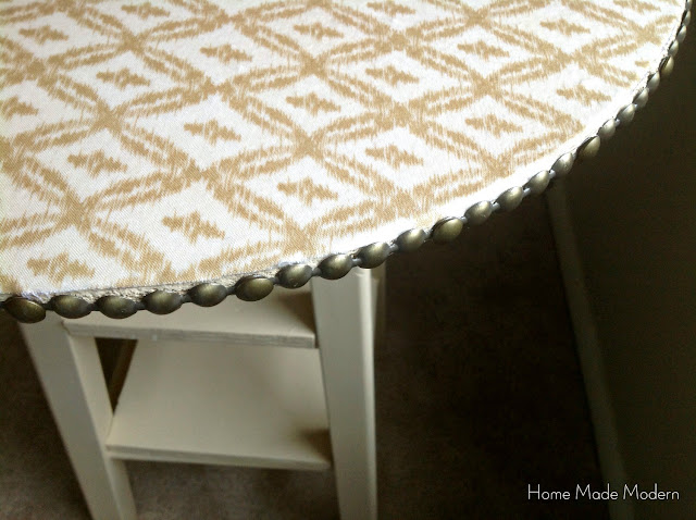nightstand with nailhead trim