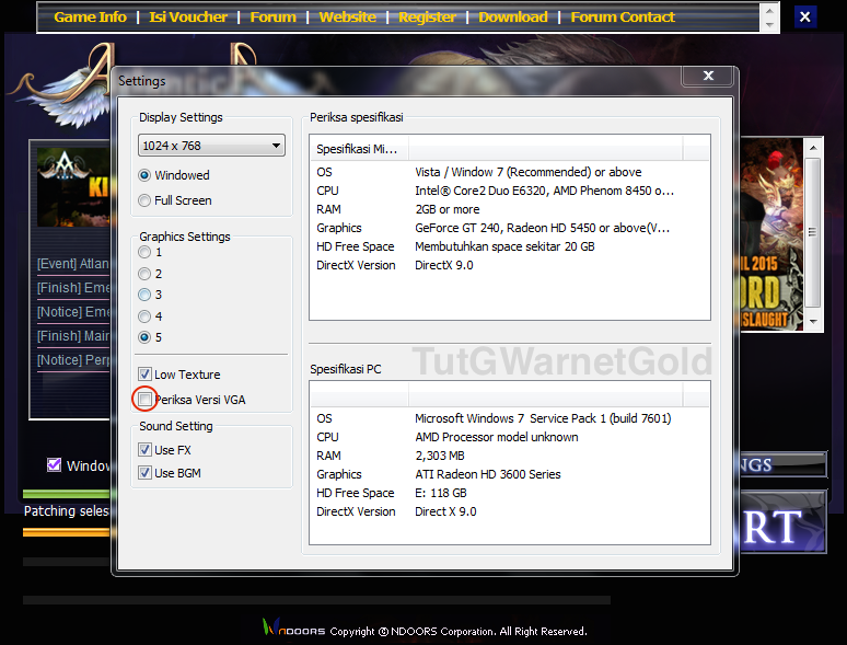 Setting Atlantica Online Indonesia - Periksa Versi VGA