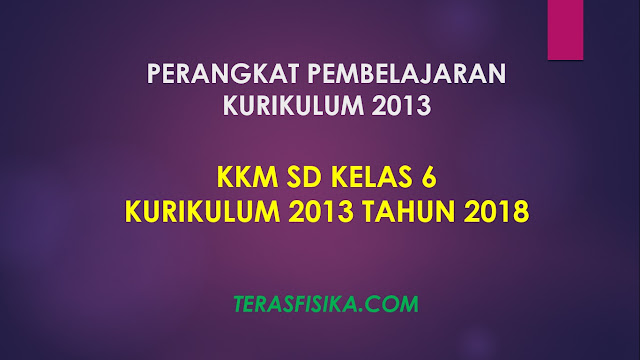 Download KKM SD Kelas 6 Kurikulum 2013 Revisi 2018