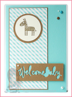 Stampin' Up! rosa Mädchen Kulmbach: Babykarte Welcome Baby mit Zoo Babies