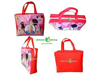 tas ultah anak, tas souvenir ultah, tas ulang tahun, tas ultah minnie mouse.