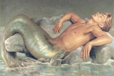 merman with green fin looks like patrick swayze