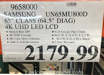 Deal for the Samsung UN65MU800D 65in 4K UHD LED LCD TV at Costco