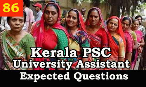 Kerala PSC Model Questions for University Assistant - 86