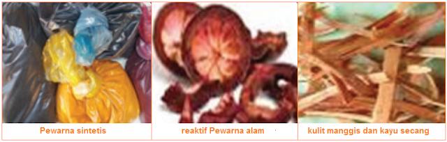 Zat Pewarna Batik - Pewarna sintetis, reaktif Pewarna alam, kulit manggis dan kayu secang - Bahan Produksi Batik